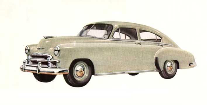 Front/Side  of Chevrolet Fleetline Special 4-door Sedan 3.5 Manual, 93hp, 1950