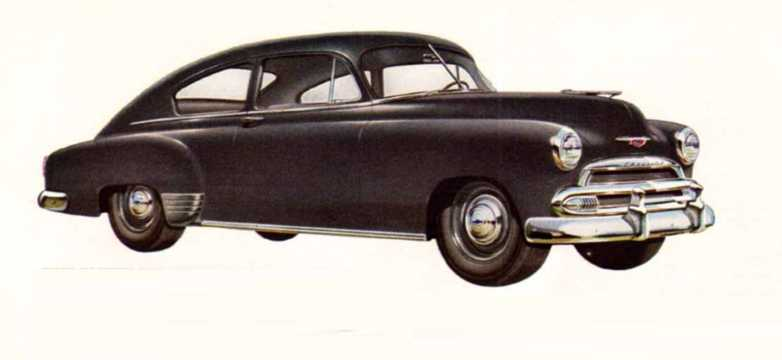 Front/Side  of Chevrolet Fleetline Special 2-door Sedan 3.5 Manual, 93hp, 1951
