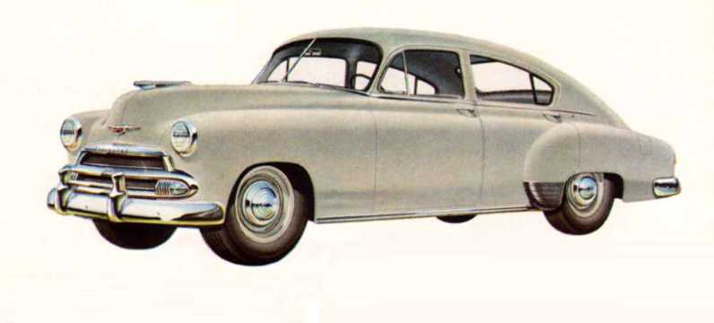 Front/Side  of Chevrolet Fleetline Special 4-door Sedan 3.5 Manual, 93hp, 1951