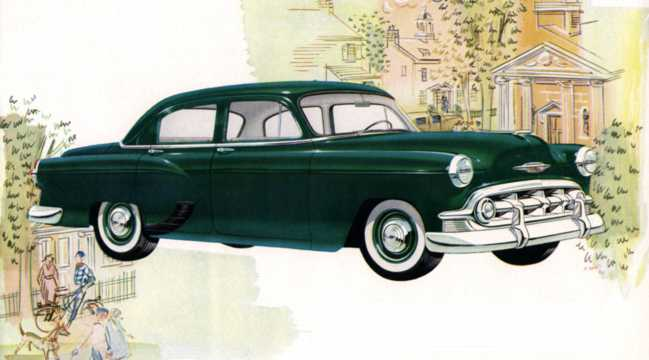 Front/Side  of Chevrolet One-Fifty 4-door Sedan 3.9 Manual, 110hp, 1953