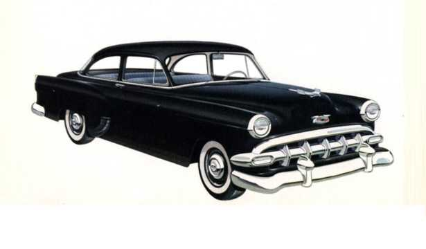 Front/Side  of Chevrolet One-Fifty 2-door Sedan 1954