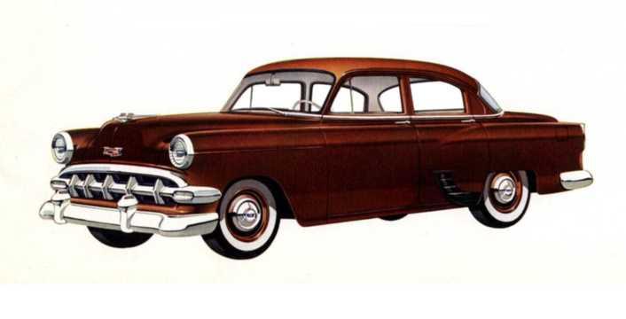 Front/Side  of Chevrolet One-Fifty 4-door Sedan 1954
