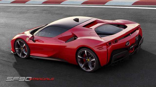 Back/Side of Ferrari SF90 Stradale 3.9 V8 DCT, 1000hp, 2020