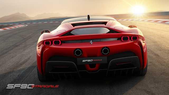 Back of Ferrari SF90 Stradale 3.9 V8 DCT, 1000hp, 2020