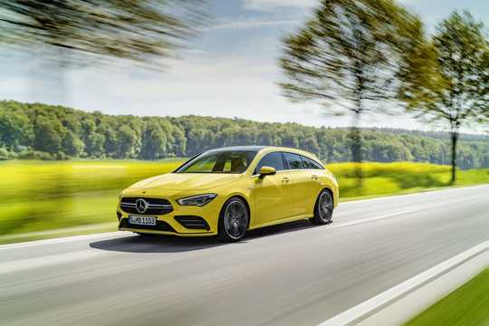 Front/Side  of Mercedes-Benz AMG CLA 35 4MATIC Shooting Brake  7G-DCT, 306hp, 2019