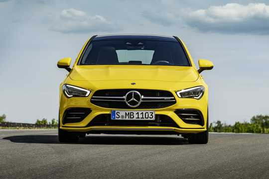 Front  of Mercedes-Benz AMG CLA 35 4MATIC Shooting Brake  7G-DCT, 306hp, 2019