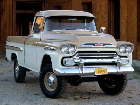 Fram/Sida av Chevrolet Apache 31/32 Fleetside NAPCO Powr-Pak 3.9 4x4 Manuell, 137hk, 1959
