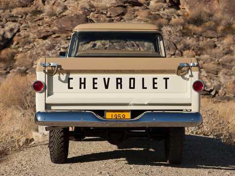 Bak av Chevrolet Apache 31/32 Fleetside NAPCO Powr-Pak 3.9 4x4 Manuell, 137hk, 1959