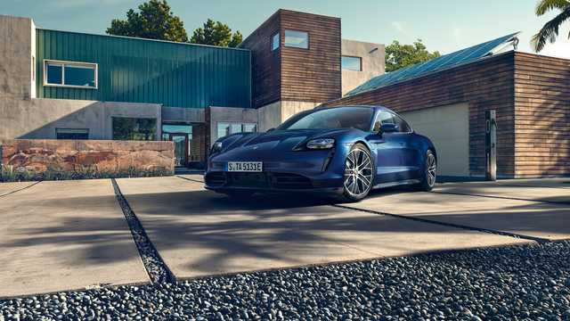 Front/Side  of Porsche Taycan Turbo  Single Speed, 680hp, 2020