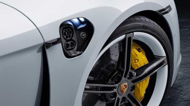 Close-up of Porsche Taycan Turbo S  Single Speed, 761hp, 2020