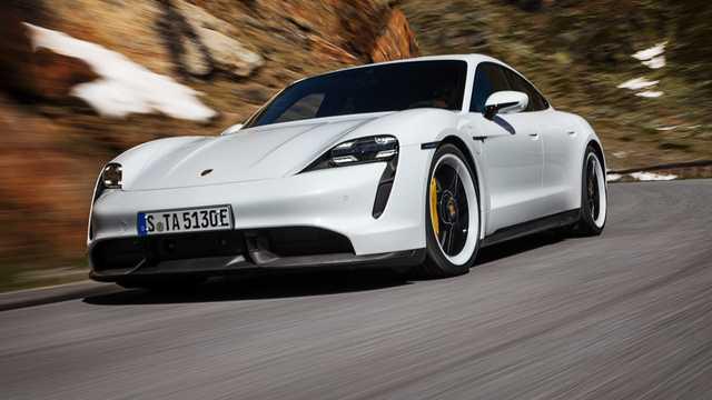 Front/Side  of Porsche Taycan Turbo S  Single Speed, 761hp, 2020