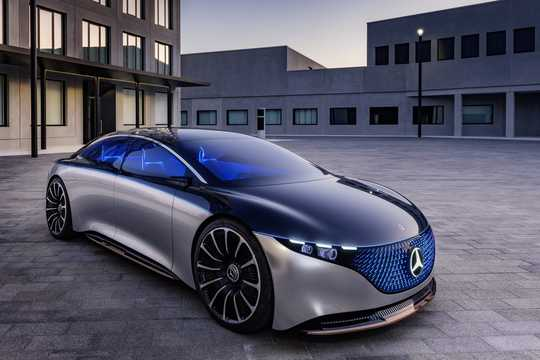 Front/Side  of Mercedes-Benz Vision EQS 100 kWh Single Speed, 476hp, 2020