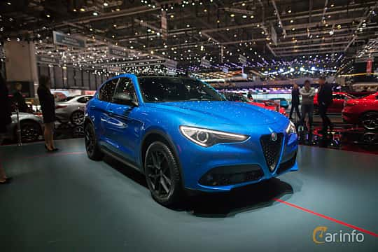 Front/Side  of Alfa Romeo Stelvio 2.2 JTDM Q4 Automatic, 210ps, 2017 at Geneva Motor Show 2017