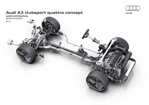 Engine compartment  of Audi A3 Clubsport quattro 2.5 TFSI quattro S Tronic, 532hp, 2014