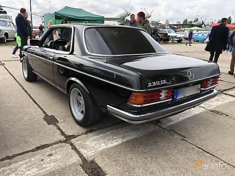 Back/Side of Mercedes-Benz 230 CE  136ps, 1980 at Old Car Land no.2 2019