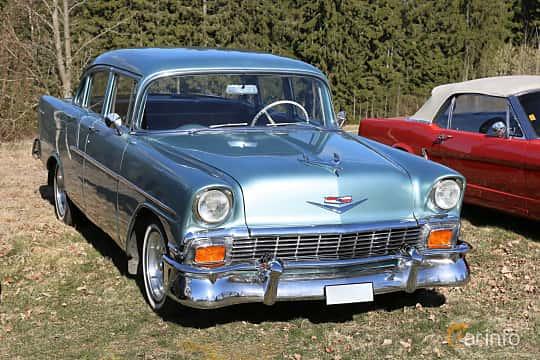 Front/Side  of Chevrolet 150 4-door Sedan 4.3 V8 Manual, 165ps, 1956 at Uddevalla Veteranbilsmarknad Backamo, Ljungsk 2019