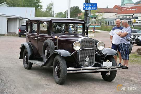 Front/Side of Chevrolet AE Independence 3.2 Manual, 50ps, 1931 at Kungälvs Kulturhistoriska Fordonsvänner 2018 v.33