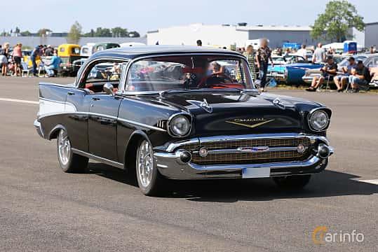 Front/Side  of Chevrolet Bel Air Sport Sedan 4.6 V8 Powerglide, 188ps, 1957 at Falköping Nasco Yankee Meet 2018