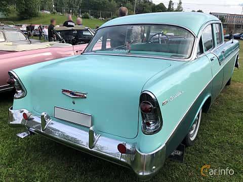 Back/Side of Chevrolet Bel Air 4-door Sedan 3.9 Powerglide, 142ps, 1956 at Bil & MC-träffar i Huskvarna Folkets Park 2019 vecka 32 tema Hot Rods