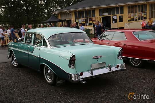Back/Side of Chevrolet Bel Air 4-door Sedan 3.9 Powerglide, 142ps, 1956 at Bil & MC-träffar i Huskvarna Folkets Park 2019 Amerikanska fordon