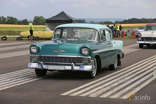 Front/Side  of Chevrolet Bel Air 4-door Sedan 3.9 Powerglide, 142ps, 1956 at Falköping Nasco Yankee Meet 2019