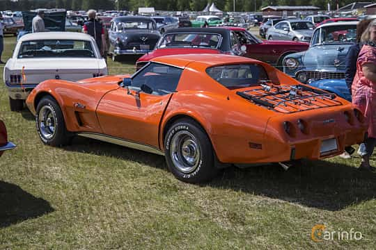 Back/Side of Chevrolet Corvette Stingray 5.7 V8 Automatic, 213ps, 1976 at Nostalgifestivalen i Vårgårda 2016