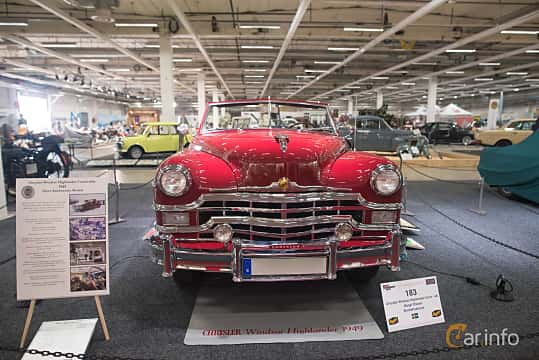 Front  of Chrysler Windsor Convertible Coupé 4.1 Manual, 119ps, 1949 at Bilsport Performance & Custom Motor Show 2018