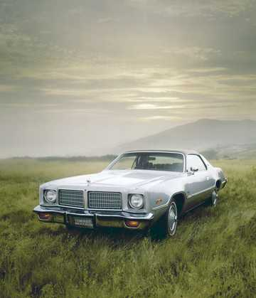Front/Side  of Dodge Coronet Brougham Hardtop 5.9 V8  TorqueFlite, 182hp, 1975