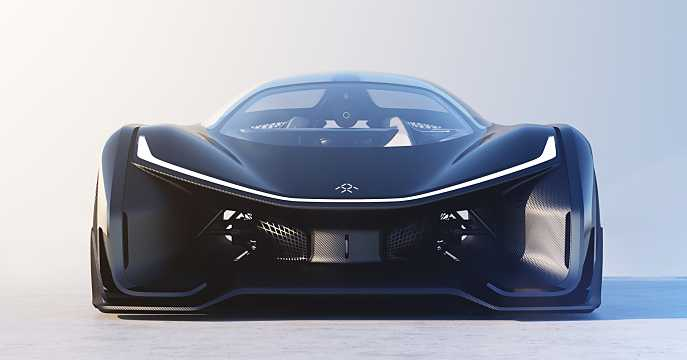 Front  of Faraday Future FFZERO1 Electric Single Speed, 1000hp, 2016
