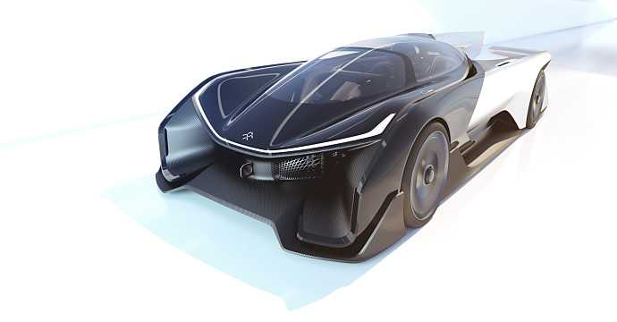 Front/Side  of Faraday Future FFZERO1 Electric Single Speed, 1000hp, 2016