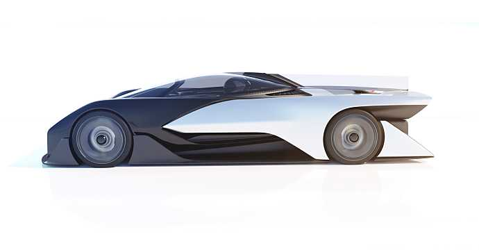 Side  of Faraday Future FFZERO1 Electric Single Speed, 1000hp, 2016