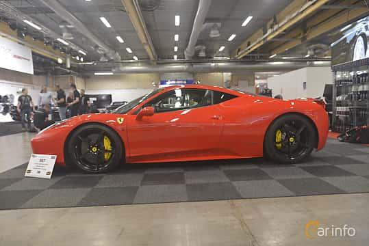 Side  of Ferrari 458 Italia 4.5 V8  DCT, 570ps, 2013 at Bilsport Performance & Custom Motor Show 2019