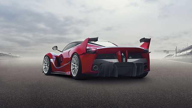 Back/Side of Ferrari FXX-K 6.3 V12 DCT, 1050hp, 2015