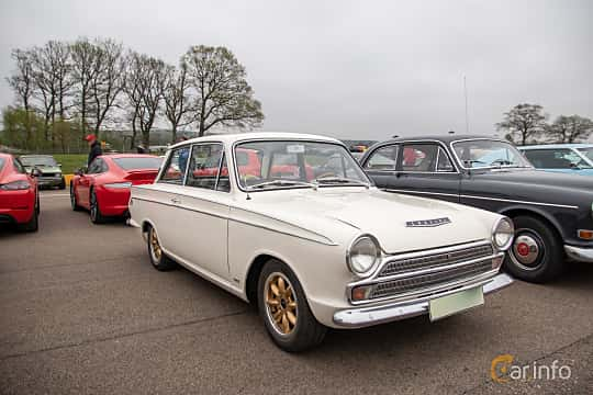 Front/Side  of Ford Cortina GT 2-door 1.5 Manual, 76ps, 1966 at Lucys motorfest 2019