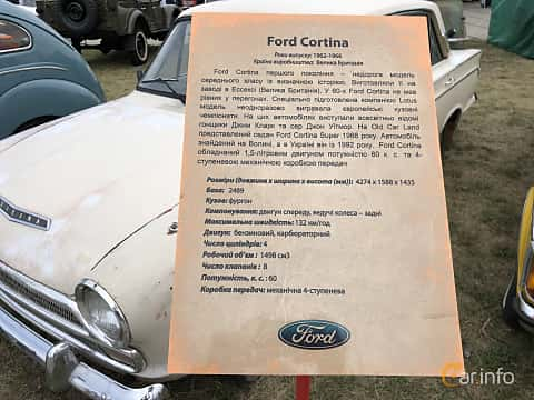 Front  of Ford Cortina Super 4-door Sedan 1.5 58ps, 1966 at Old Car Land no.2 2019