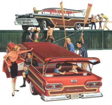 Back/Side of Ford Country Squire 2-seat 1958