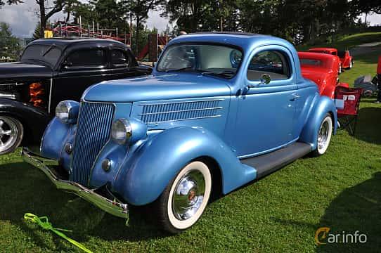 Front/Side  of Ford Model 68 3-window Coupé 3.6 V8 Manual, 86ps, 1936 at Grensetreff Halden 2013