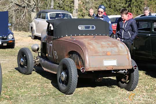 Back/Side of Ford Model A Roadster 3.3 Manual, 41ps, 1929 at Uddevalla Veteranbilsmarknad Backamo, Ljungsk 2019