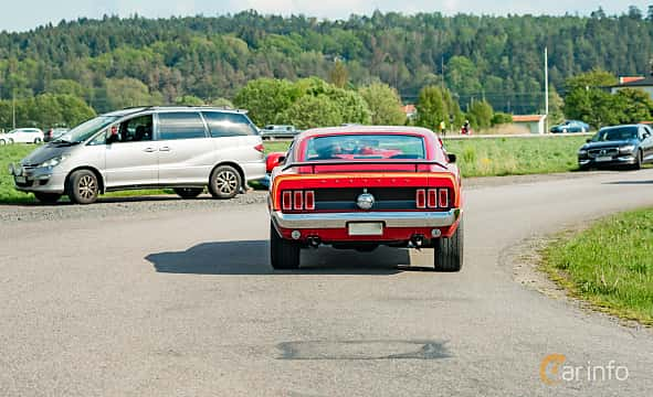 Back of Ford Mustang Mach I 5.8 V8 Automatic, 254ps, 1969 at Tjolöholm Classic Motor 2019