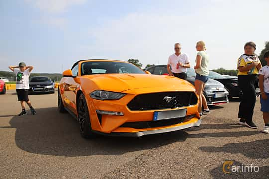 Front/Side  of Ford Mustang GT Convertible 5.0 V8 Automatic, 450ps, 2018 at Autoropa Racing day Knutstorp 2019