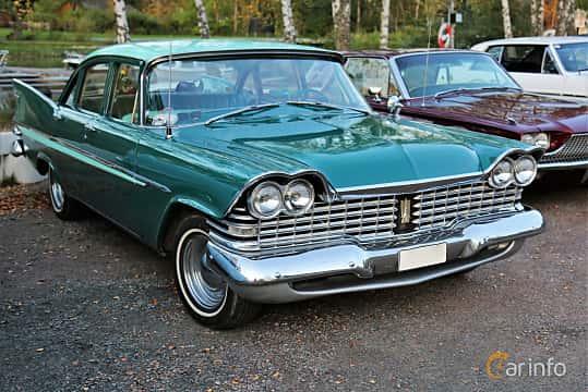 Front/Side  of Plymouth Belvedere 4-door Sedan 5.2 V8 TorqueFlite, 233ps, 1959