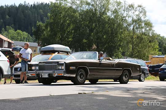 Front/Side  of Cadillac Eldorado Convertible 8.2 V8 OHV Hydra-Matic, 218ps, 1976 at A-bombers - Old Style Weekend Backamo 2019