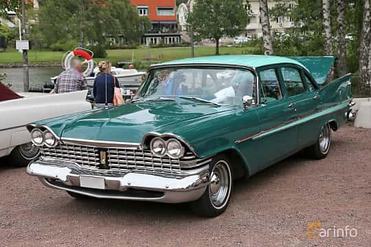 Front/Side  of Plymouth Belvedere 4-door Sedan 5.2 V8 TorqueFlite, 233ps, 1959 at Kungälvs Kulturhistoriska Fordonsvänner  2018 v.33