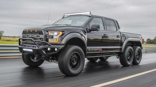 Front/Side  of Hennessey VelociRaptor 6x6 3.5 V6 6x6 Automatic, 608hp, 2017