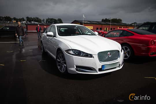 Front/Side  of Jaguar XF 2.2 TDi4 Automatic, 200ps, 2015 at Autoropa Racing day Knutstorp 2015