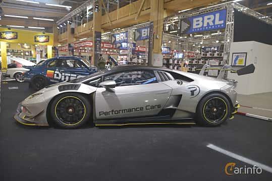 Side  of Lamborghini Huracán LP 620-2 Super Trofeo 5.2 V10 Sequential, 620ps, 2015 at Bilsport Performance & Custom Motor Show 2019