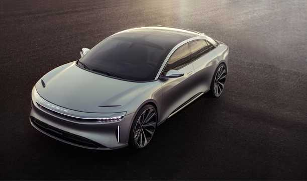 Front/Side  of Lucid Motors Air 130 kWh Single Speed, 1014hp, 2016