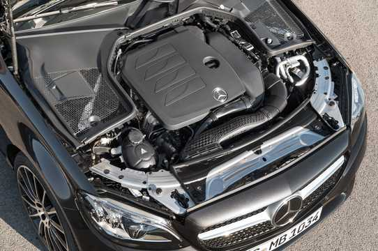 Engine compartment  of Mercedes-Benz AMG C 43 Cabriolet 4MATIC  , 390hp, 2019