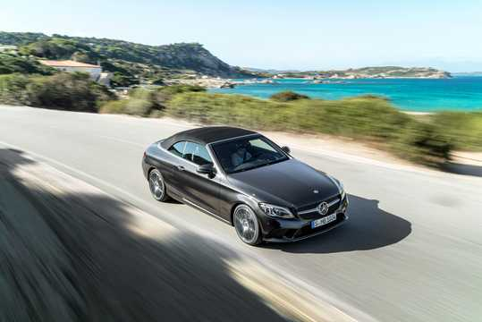 Front/Side  of Mercedes-Benz AMG C 43 Cabriolet 4MATIC  , 390hp, 2019