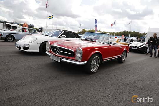 Front/Side  of Mercedes-Benz 230 SL  Manual, 150ps, 1965 at Nostalgia Racing Days / Mantorp Classic Festi 2018